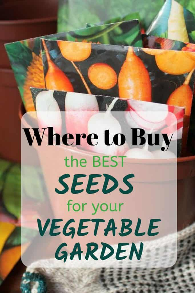 Vegetable Seed Packets in a Bucket and the text Where To Buy The Best Seeds For Your Vegetable Garden