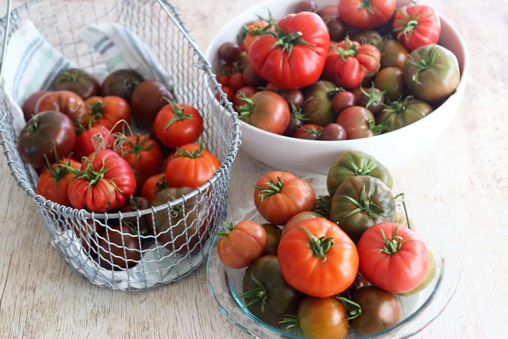 Baskets of heirloom tomatoes