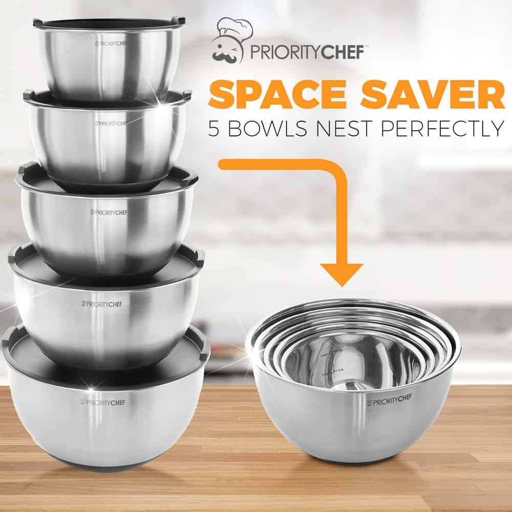 Stackable Stainless Steel Mixing Bowls