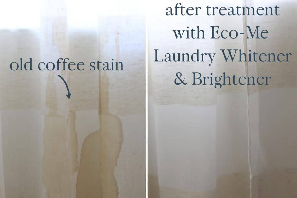 Before and after coffee stain treated with Eco-Me Laundry Whitener and brightener