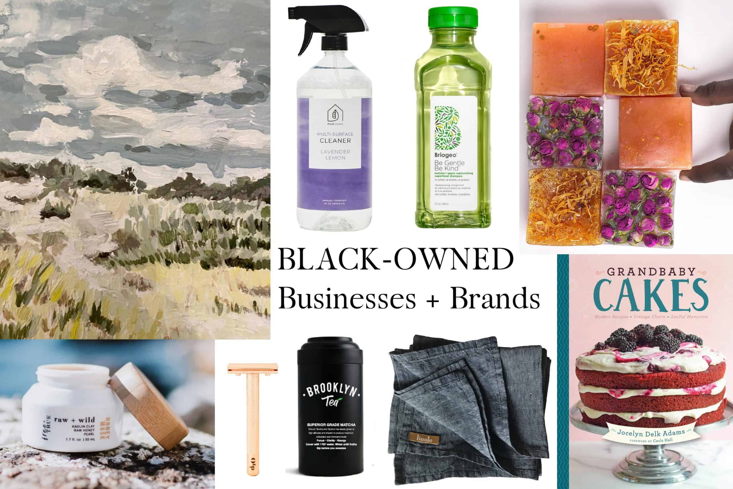 Collage of black-owned business products