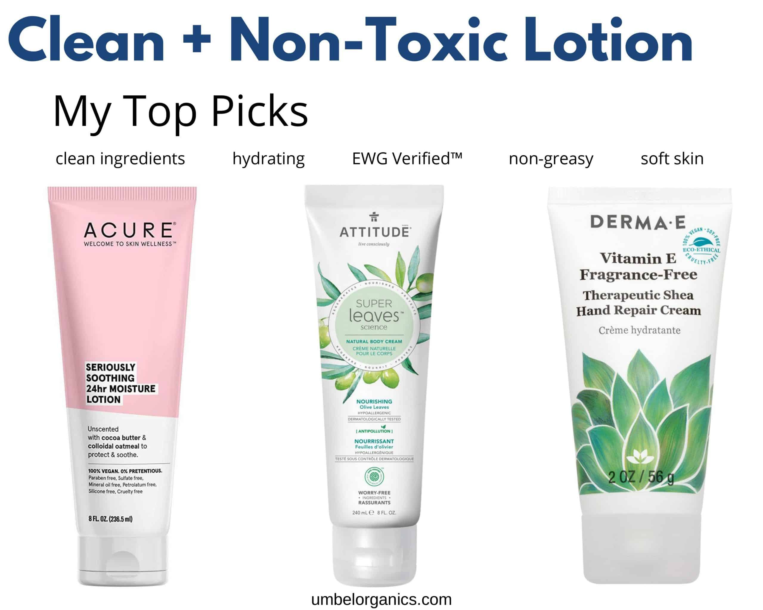 Clean lotion top picks: Acure, Attitude and Derma E