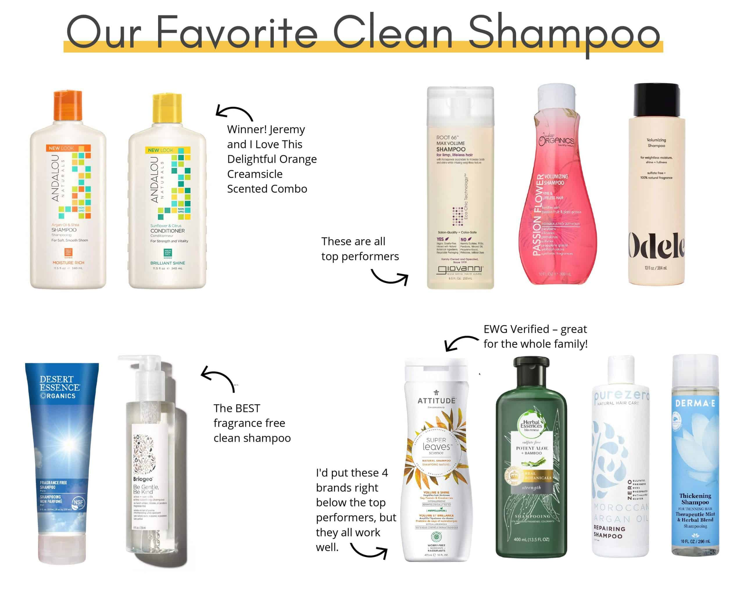 Our favorite clean shampoo brands