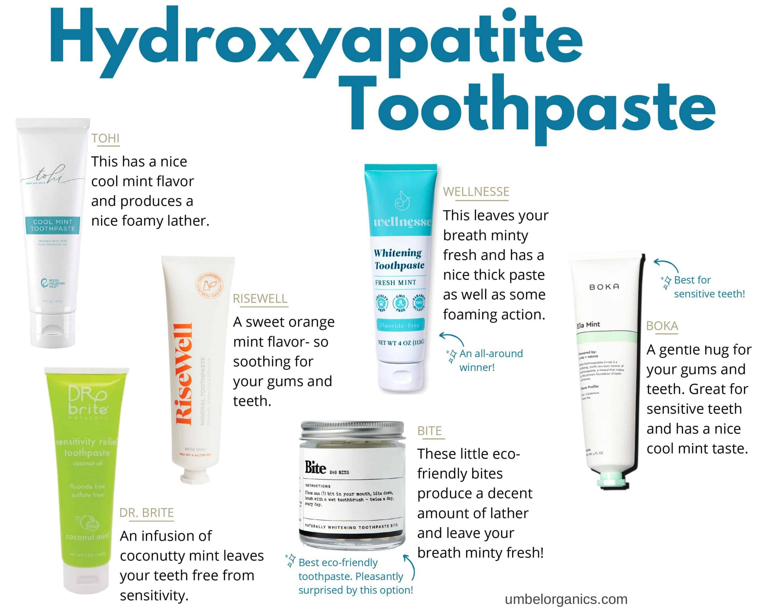 6 brands of hydroxyapatite toothpaste
