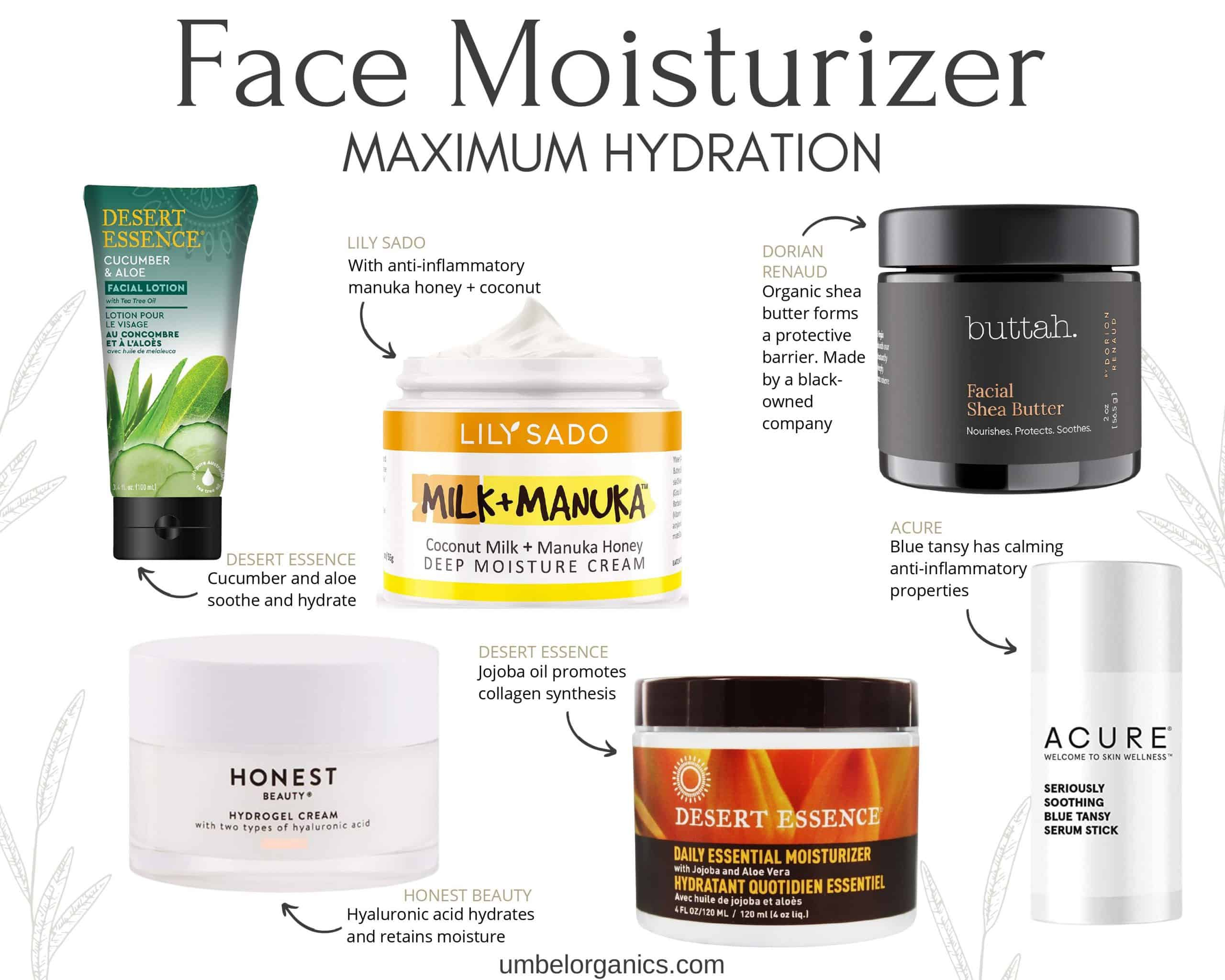6 Brands of clean + natural hydrating Face Moisturizer