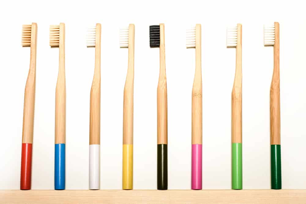 Colored bamboo toothbrushes