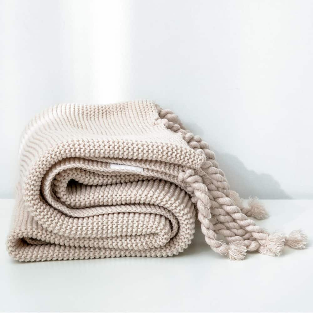 Beige Chenille Throw