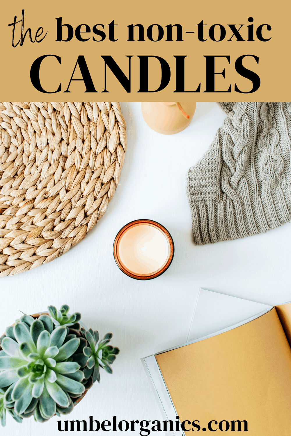 Flatlay with candle and plant