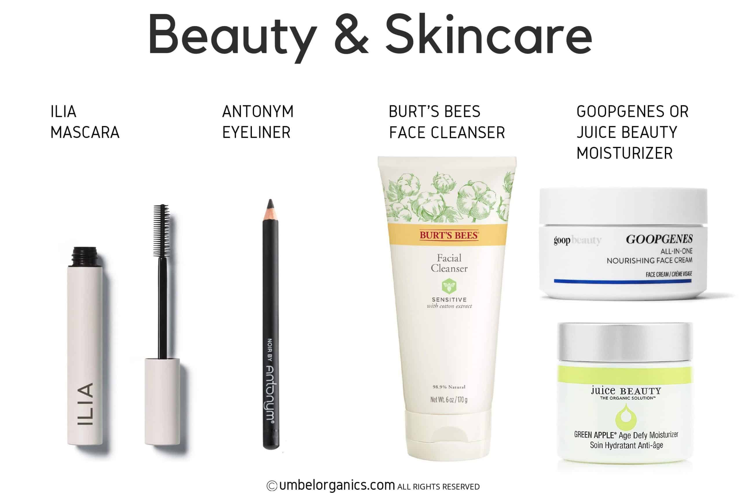 Ilia mascara, Antonym eyeliner, Burt's Bees face wash, Goopgenes Face Cream & Juice Beauty Face Moisturizer