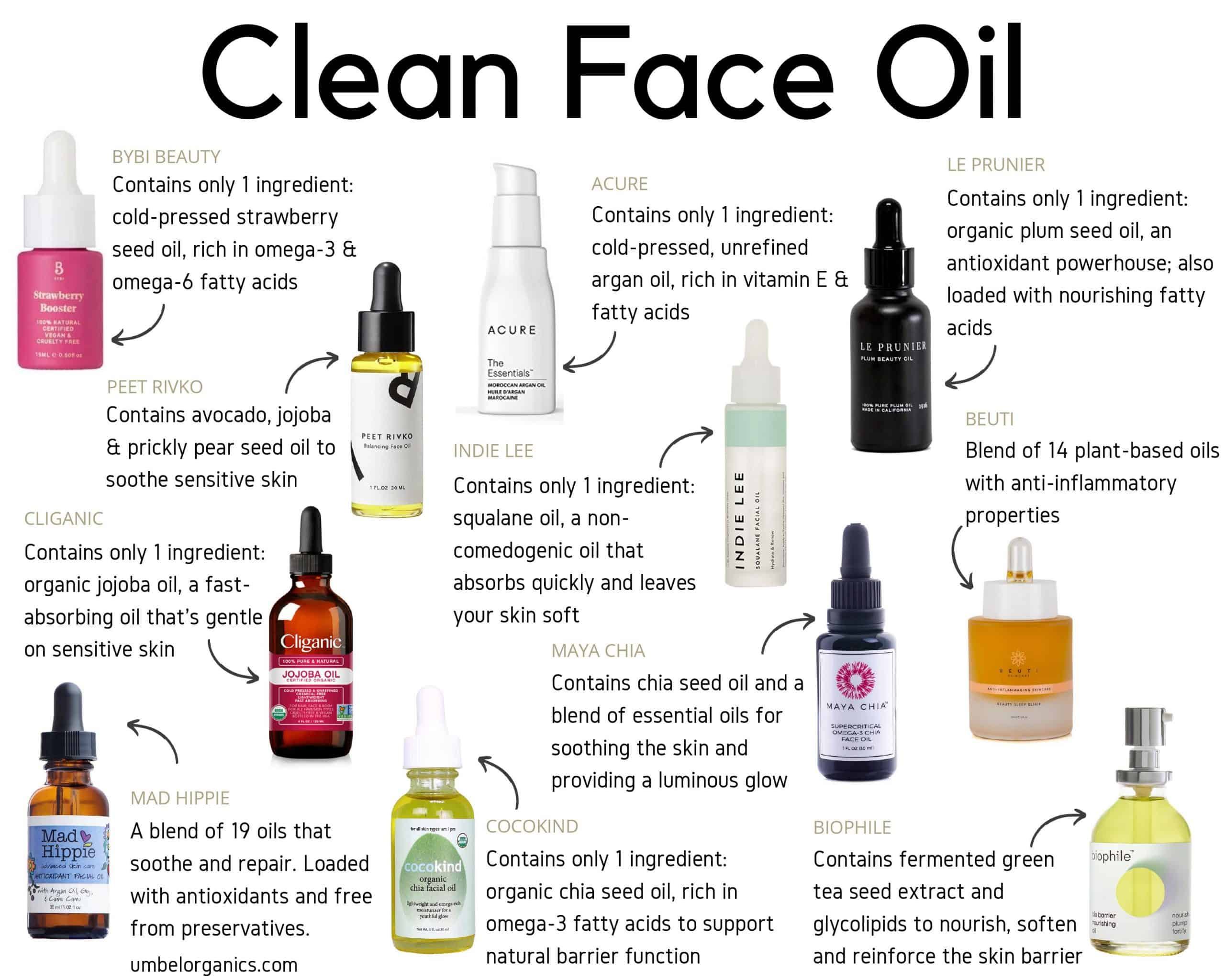 11 brands of clean face oil