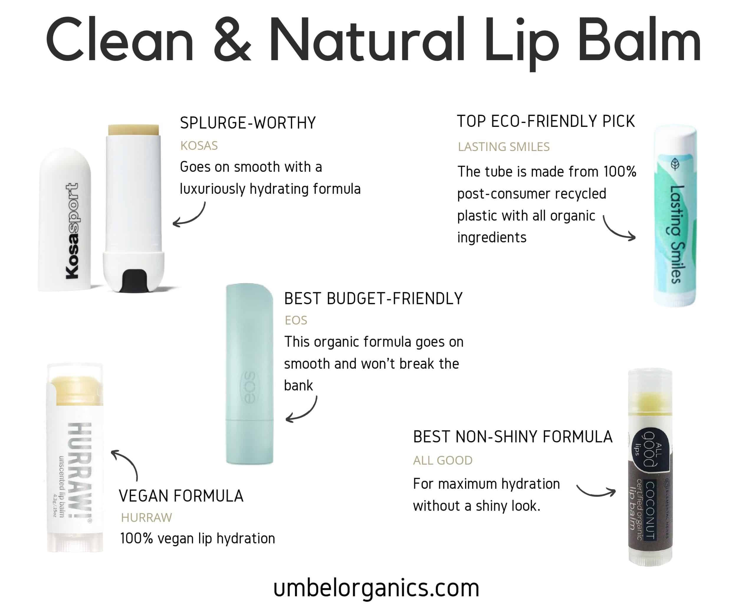 Clean Lip Balm Top Picks, including Kosas, EOS, Lasting Smiles, Hurraw, and All Good