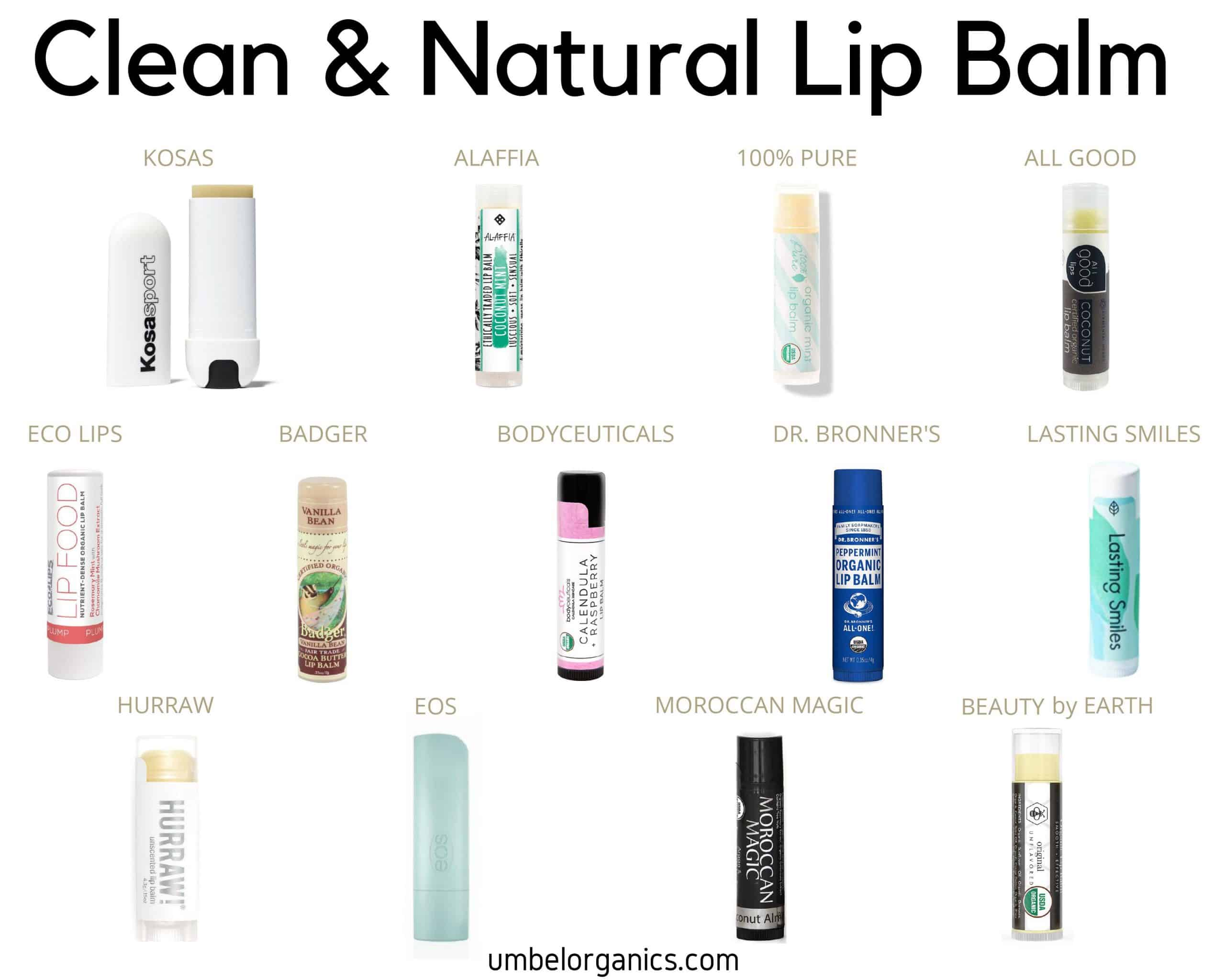 13 brands of Clean & Natural Lip Balm