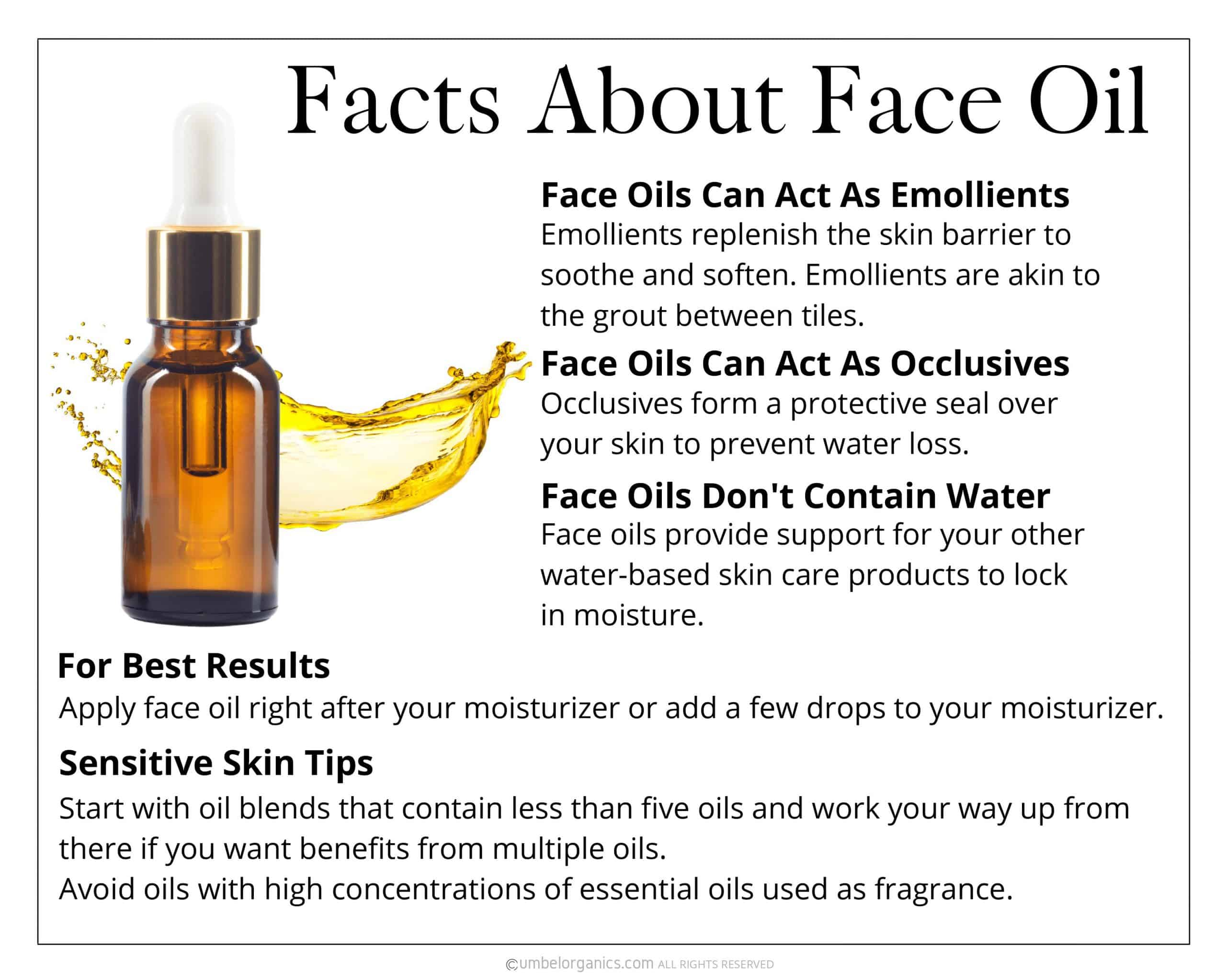 Facts about face oil with glass bottle of face oil