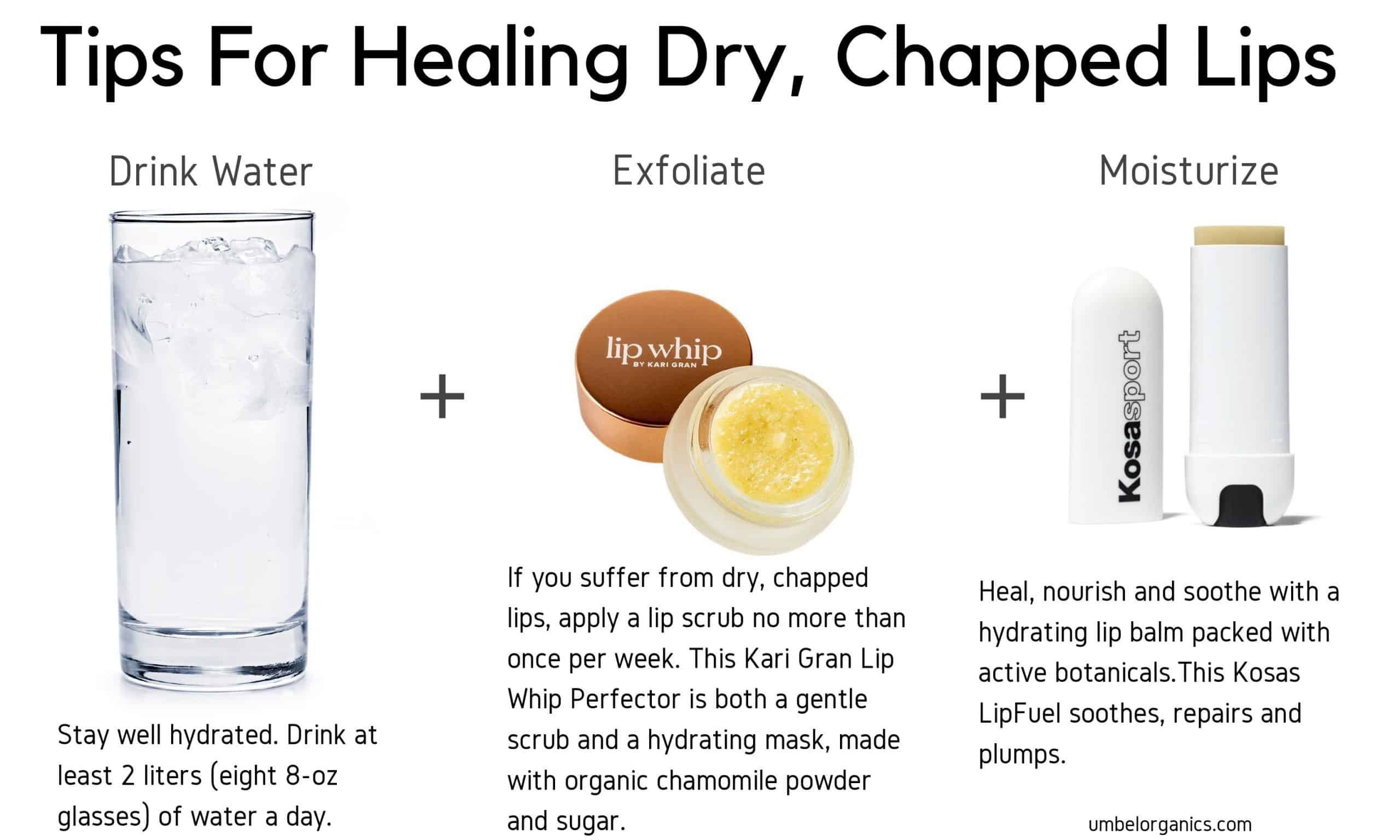 Tips For Hydrating Chapped Lips including water, a lip scrub and hydrating lip balm