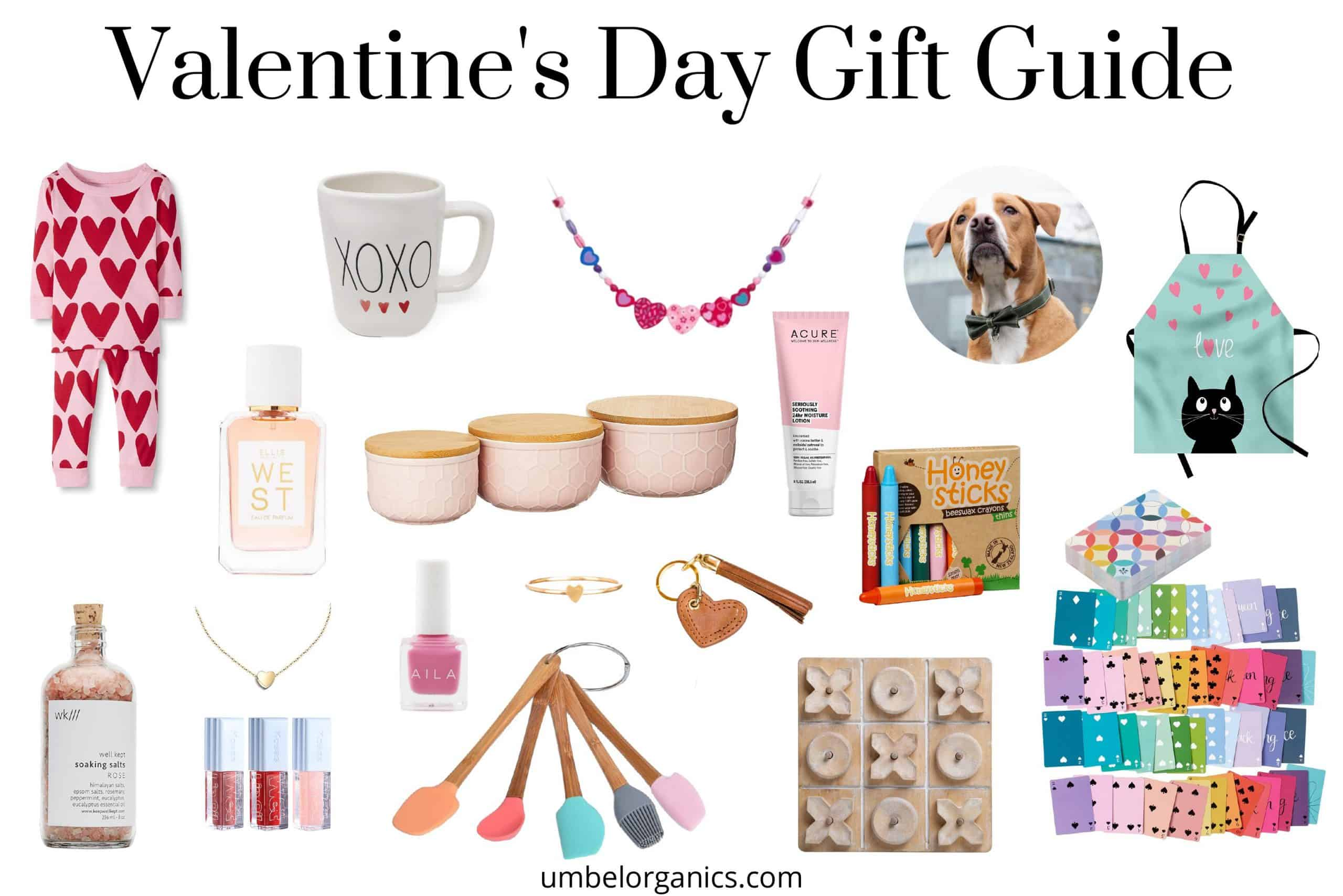 Valentine's Day Gift Guide with gifts for the whole family like games for kids and clean makeup and kitchen accessories