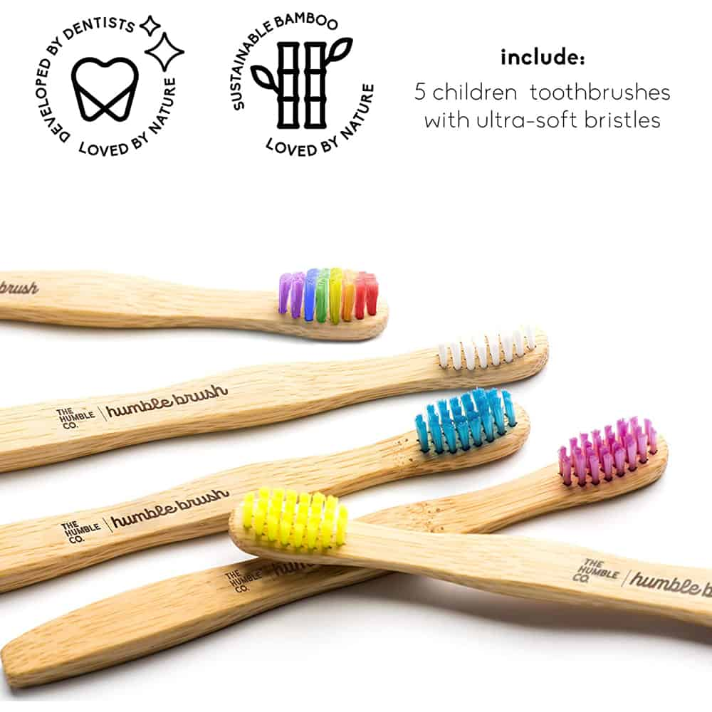 The Humble Co. Kids Bamboo Toothbrushes with colored bristles
