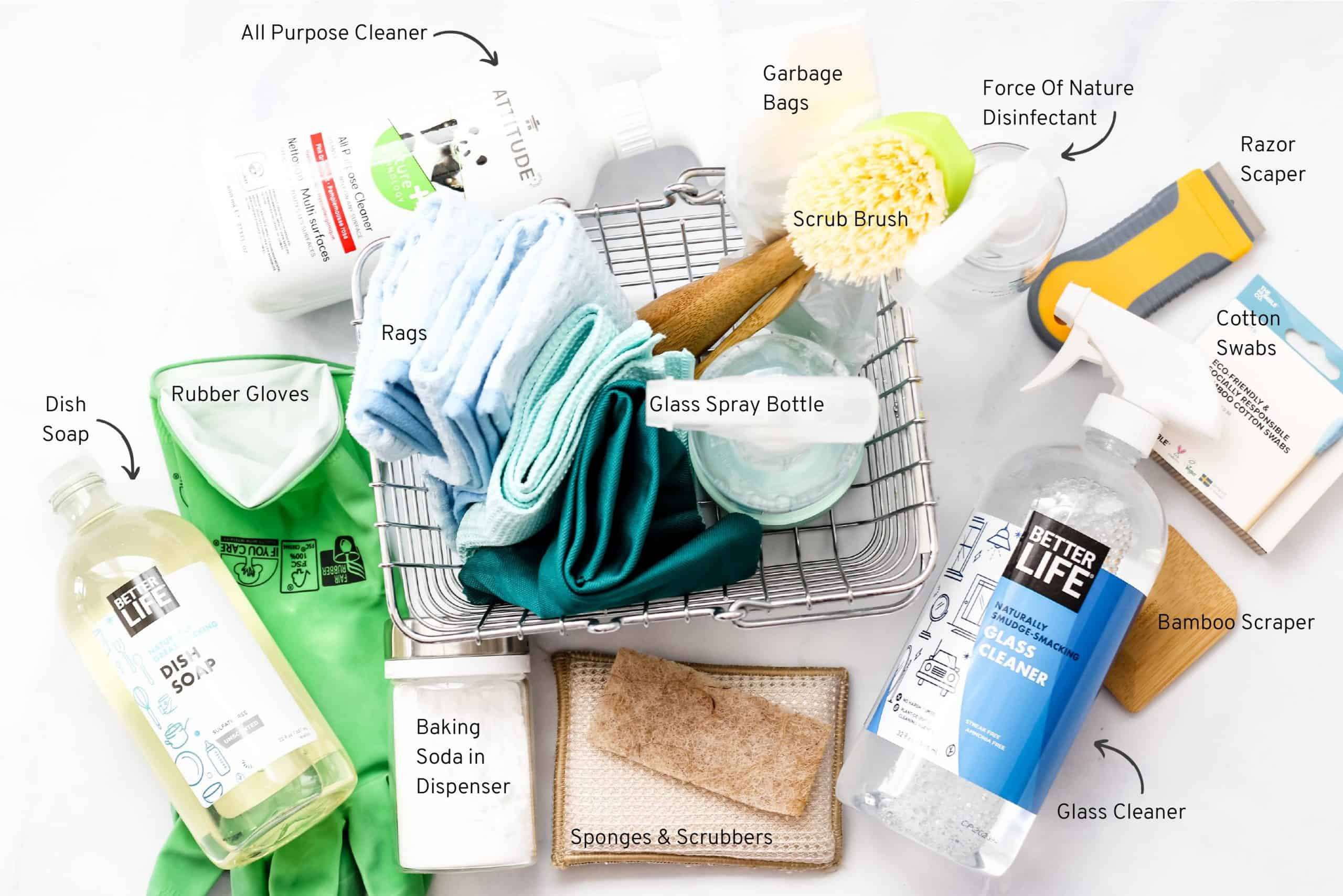 Natural cleaning supplies with a wire basket