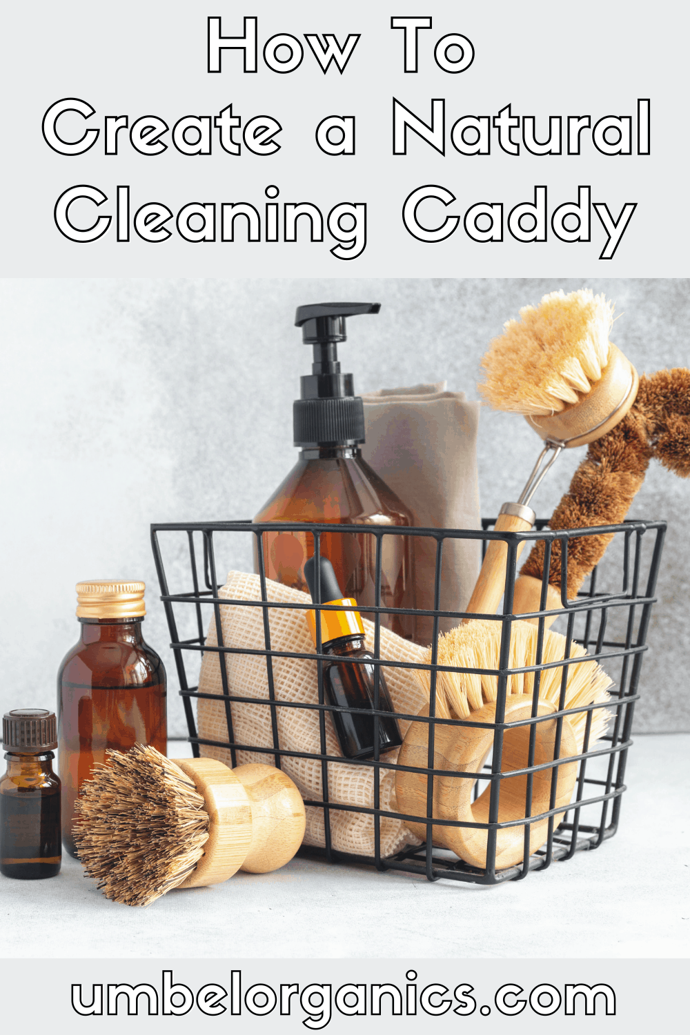 Wirre cleaning caddy with amber bottles and bamboo scrub brushes