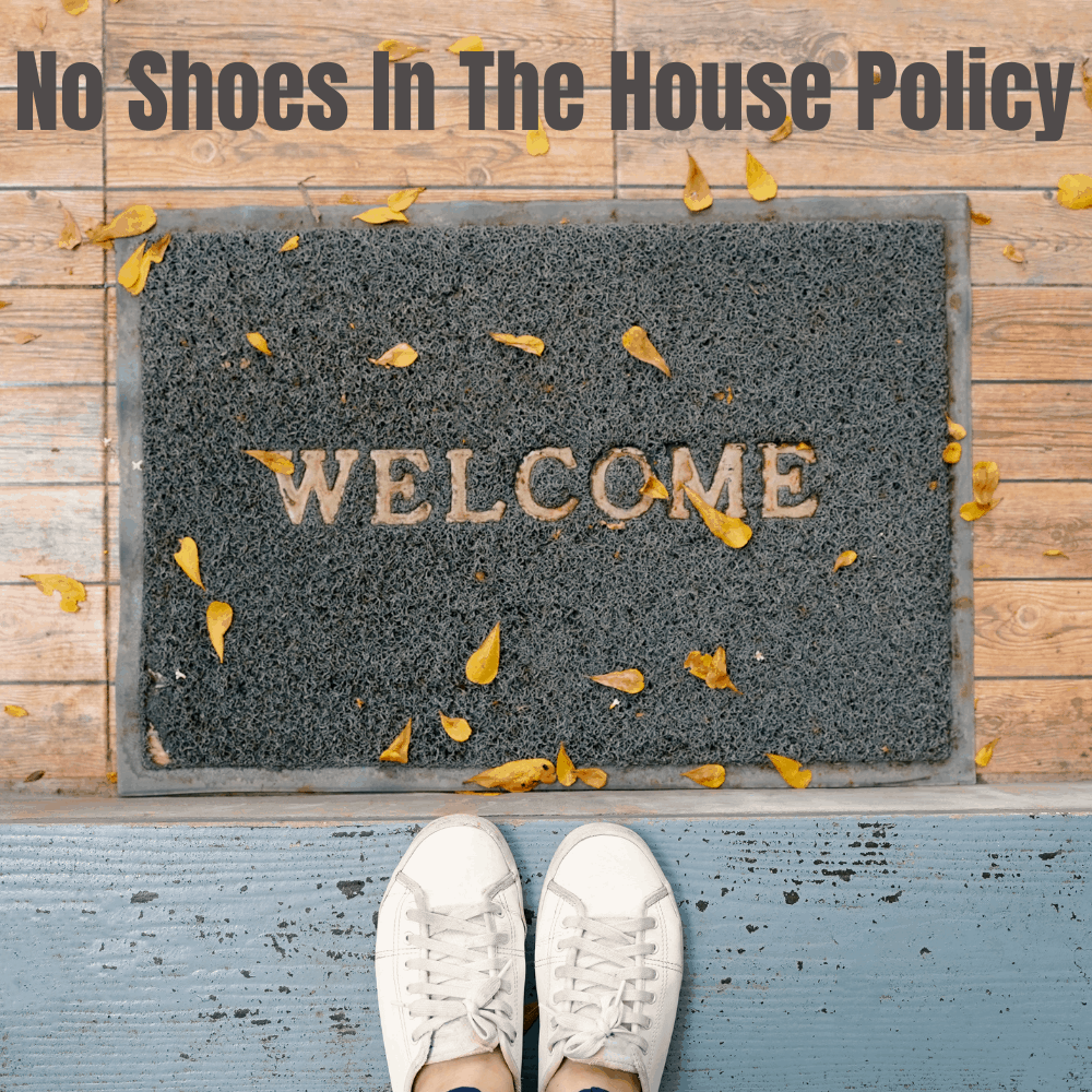 Welcome doormat with white sneakers