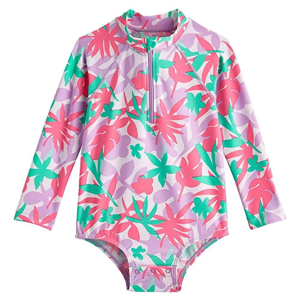 Coolibar UPF50+ Girls Long Sleeve One Piece Swimsuit