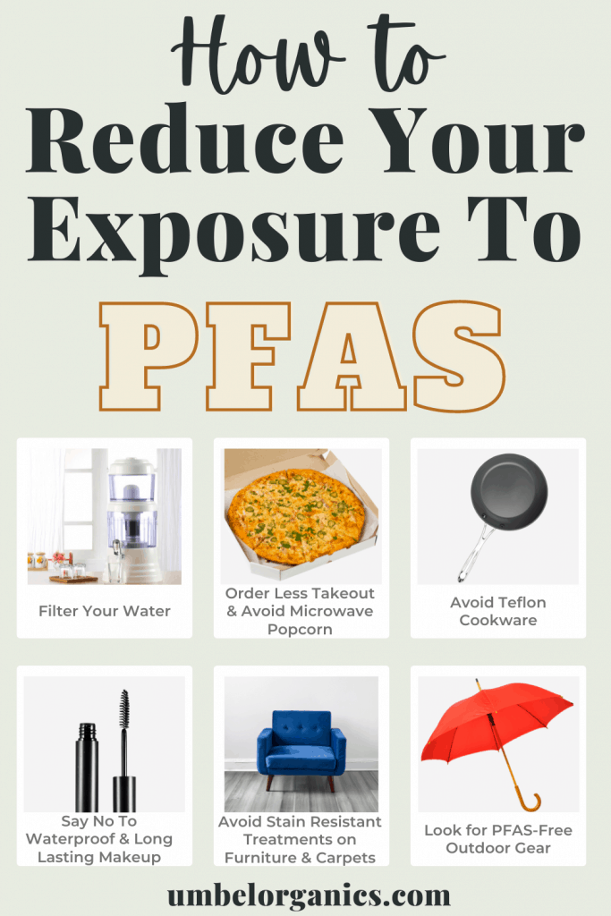 6 ways to reduce your exposure to PFAS: water filter, pizza in takeout box, Teflon cookware, mascara wand, blue chair, red umbrella