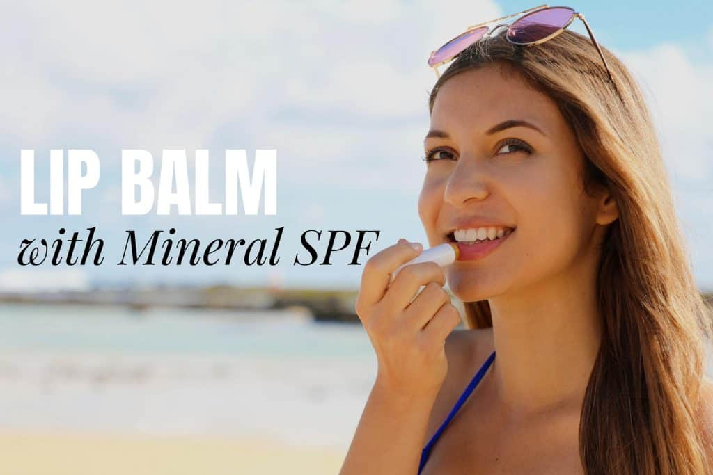 Lip Balm With Mineral Sunscreen with woman applying sunscreen at the beach