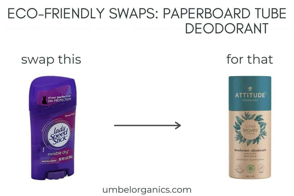 Deodorant in plastic tube and deodorant in paperboard tube