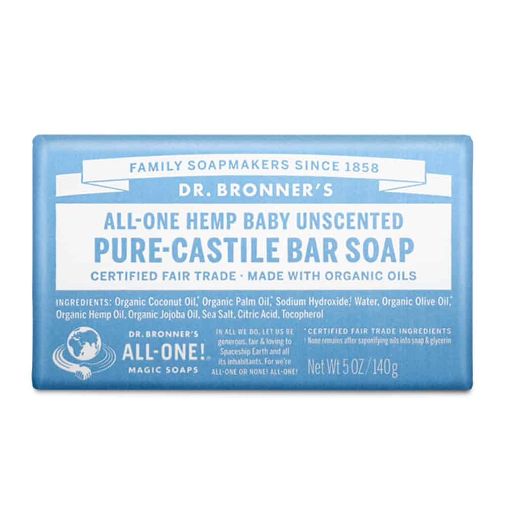 Dr. Bronner's Unscented Baby Bar Soap