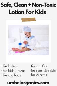 Little girl in bathrobe applying lotion