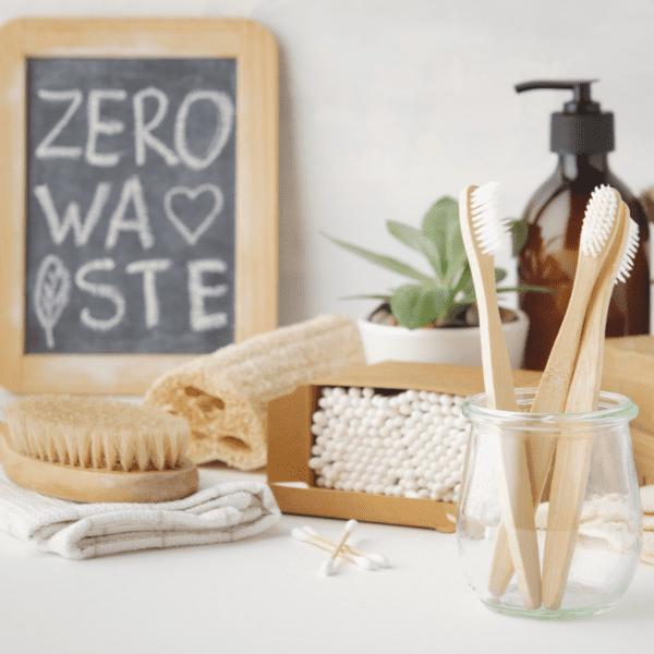 Zero waste chalkboard and bamboo bathroom accessories